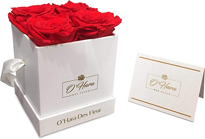 O Hara Des Fleur Preserved Rose Real Flowers Handmade Flowers In A Box Natural Fragrance Color And Style Up To 1 Year Best Gift For Her Birthday Anniversary Mother S Day Red White Box