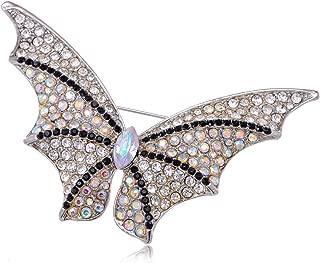 Alilang Black Clear Rainbow Rhinestone Halloween Bat Winged Butterfly Pin Brooch