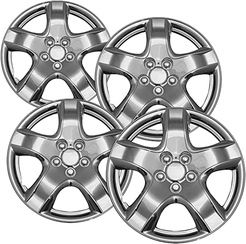 15 inch Hubcaps Best for 2005-2006 Toyota Matrix - (Set of 4) Wheel Covers 15in Hub Caps Chrome Rim Cover - Car Accessories for 15 inch Wheels - Snap On Hubcap, Auto Tire Replacement Exterior Cap