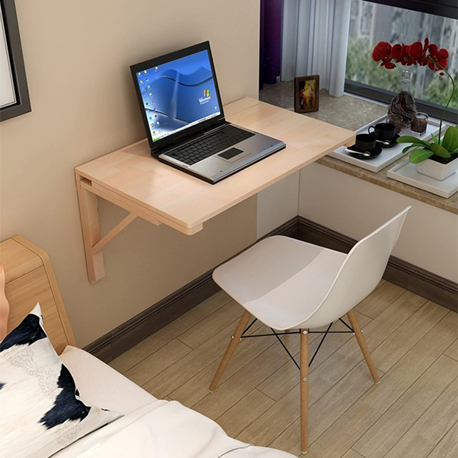 Djyyh Solid Wood Wall Table Foldable Dining Table Drop Leaf Against The Wall Computer Desk Learning Table (Size   60  40 cm)