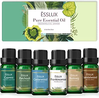 Essential Oils Set, Esslux Men Scents Collection with Cypress, Cedarwood, Patchouli, Sandalwood, Frankincense, Nutmeg Esse...