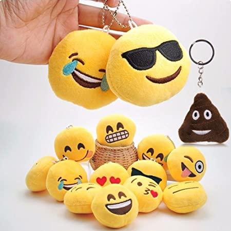 Gifts Online Round Emoji Face Plush Soft Cushion Keychain Return Gifts - Pack of 12