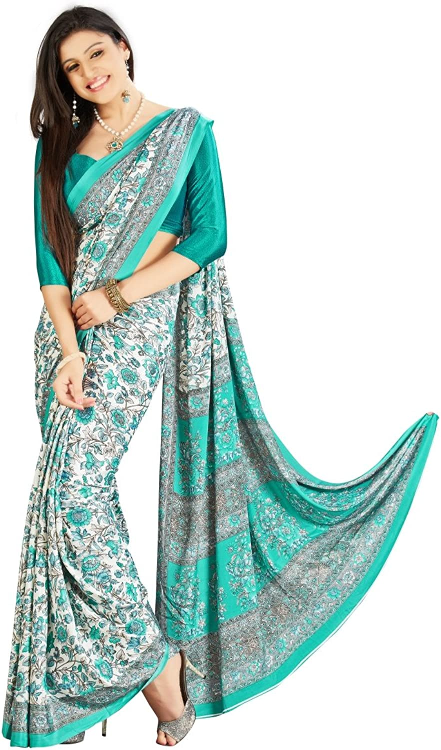 Triveni Majestic Off White colord Printed Crape Silk Saree 704B