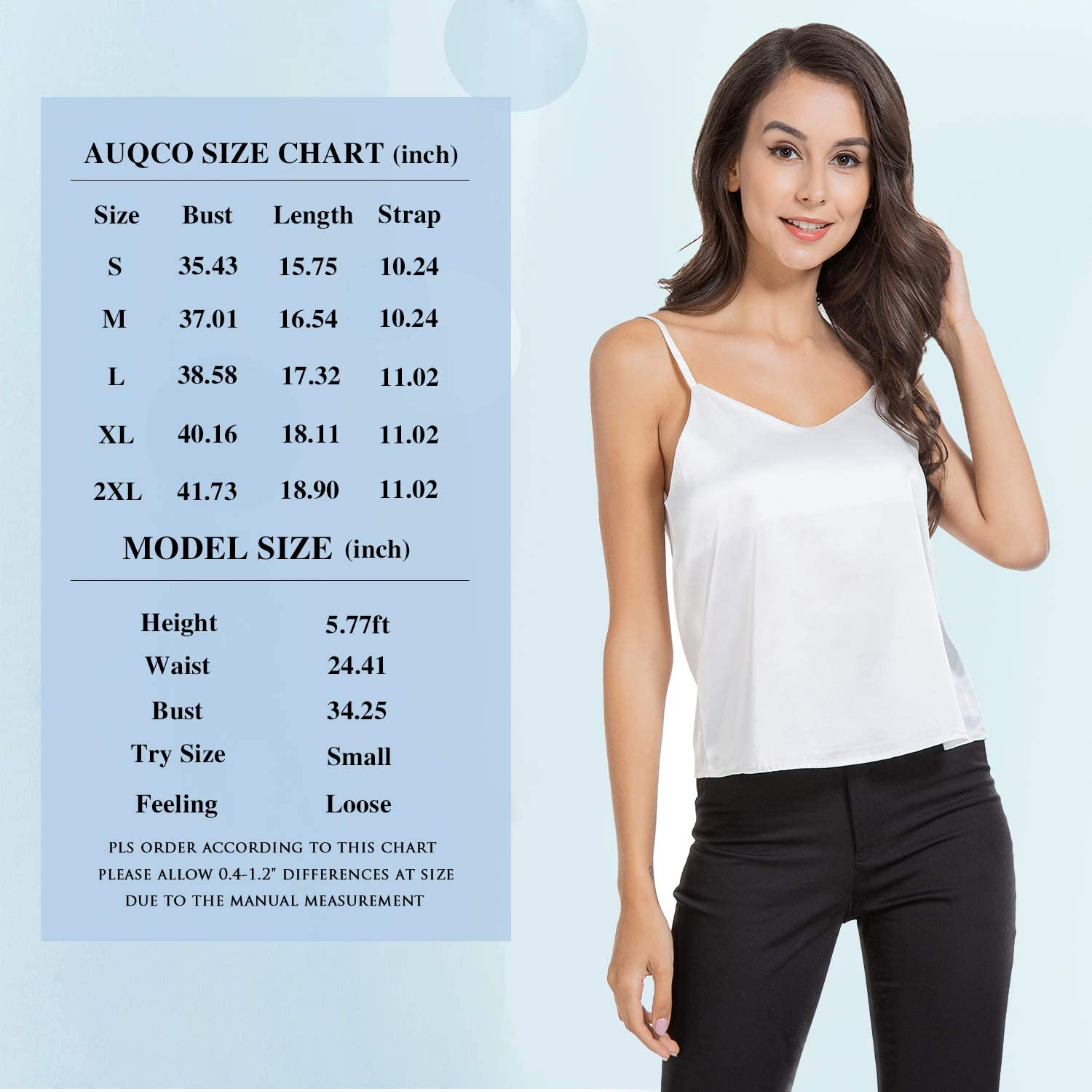 AUQCO Silk Tank Top for Women Sexy V-Neck Satin Camisole with Soft Satin Sleeveless Tank Cami Top