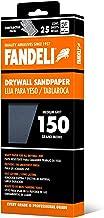 Fandeli 36574 hojas de papel de lija para yeso de grano 150, 4-1/4 pulgadas x 11 pulgadas, 25 hojas