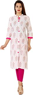 Stitch N Style Foral Print Cotton Kurti (White With Pink)