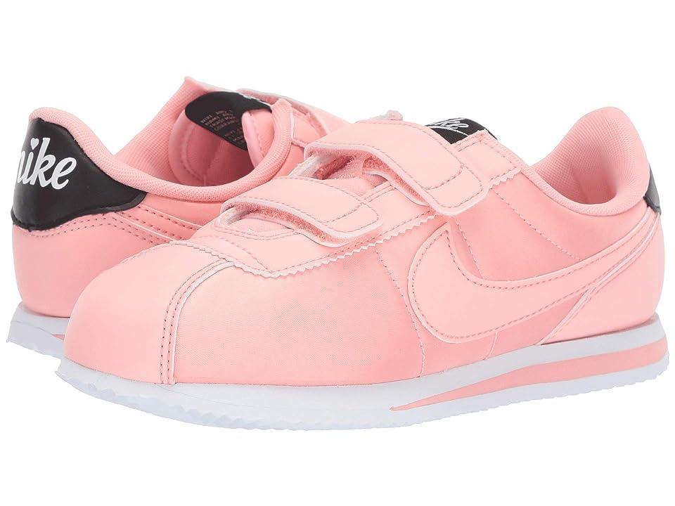 Nike Kids Cortez Basic TXT V-Day (Little Kid) (Bleached Coral/Bleached Coral/Black) Girls Shoes