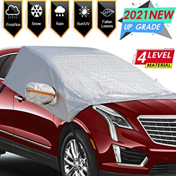 OUCPC Car Windshield Snow Cover, Universal Windshield Ice Cover Protect Windshield and Mirror Covers from Snow, Ice, Frost and Sun Shade(98 x 62 in): image