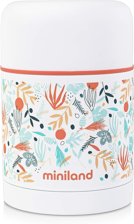 Miniland - Termo papillero de acero inoxidable para bebé con funda - Termo para alimentos sólidos de 600 ml, Colección Mediterranean
