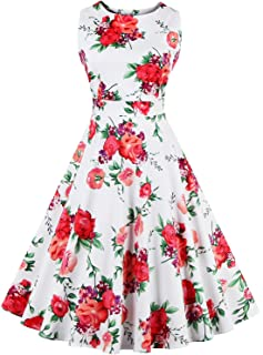 Women's Retro Swing Dresses Vintage Sleeveless Dresses for Party