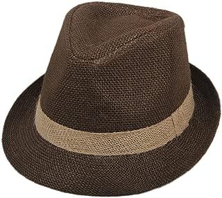 Little Boys' Kids Linen Straw Band Fedoras Hat Caps