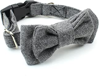 BCB Wear Dog and Cat Wool Collar with Bow Tie - Fully Adjustable For Any Size Pet Large to Small