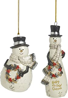 Fitz and Floyd Wintry Woods Snowman and Bell, 2-Piece, Ornament Set