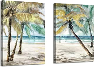 Beach Palm Trees Wall Art: Abstract Coastal Seascape Artwork Print on Canvas Pictures for Living Room (24'' x 18'' x 2 Panels)