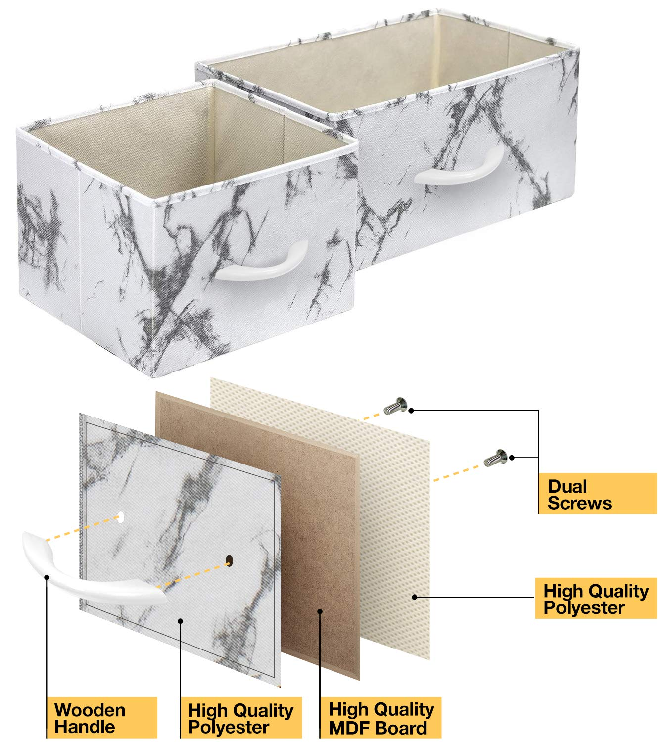 Steel Frame Marble White /– White Frame Wood Top Furniture Storage Chest Tower Unit for Bedroom Fabric Bins Office Organization Hallway Closet Sorbus Dresser with 9 Drawers