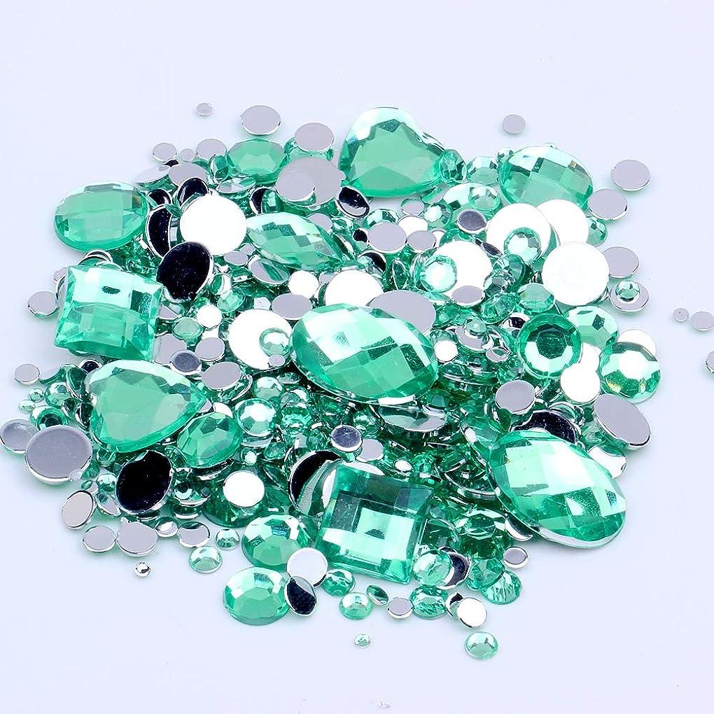 ソロ勤勉パキスタン混合サイズ1000ピース多くの色アクリル非修正フラットバックラインストーンネイルアート結婚式の服の装飾のための宝石(16 グリーン)