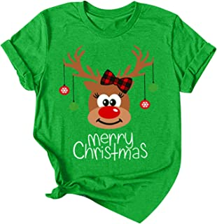 Womens Christmas Pullover T-Shirts Pattern Print...