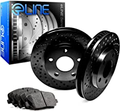For 2000-2006 Toyota Tundra Front eLine Black Drilled Brake Rotors+Ceramic Pads