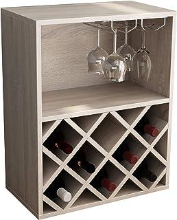 soges Armoire à vin Armoire à vin Mobile multifonctionnelle Casier à vin 8 Bouteilles avec 2 rangées d'armoires suspendues...