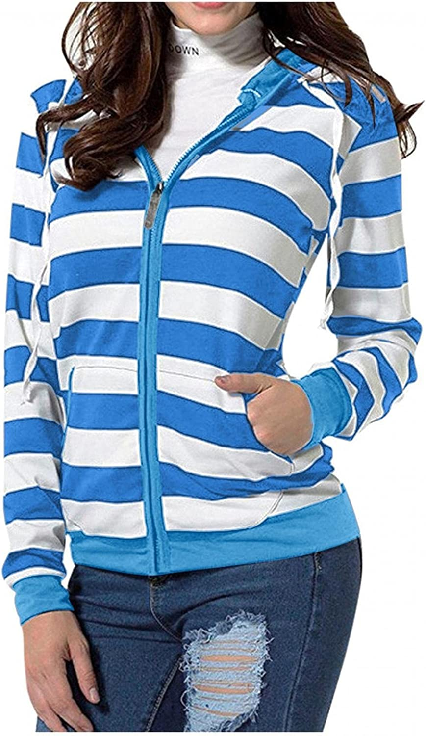 Haheyrte Hoodies for Womens Long Sleeve Stripe Print Zipper Outerwear Hooded Jacket Coats Casual Sweatshirts Pullover Tops