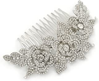 Oversized Bridal/Wedding/ Prom/Party Rhodium Plated Clear Crystal Triple Rose Floral Hair Comb - 110mm