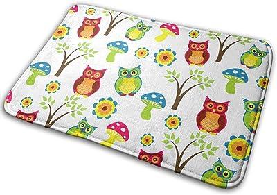Non-Slip Doormats Cute Owl Entrance Rug Indoor/Outdoor Carpet Absorbs Moisture Washable Dirt Trapper Mats