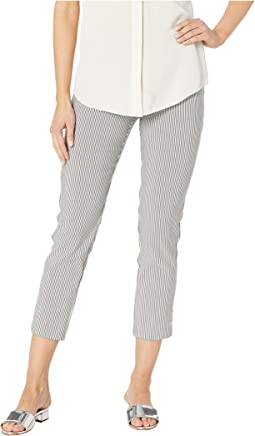 Harper Stripe Elastic Waist Pull-On Crop Pants with Button Tab Detail