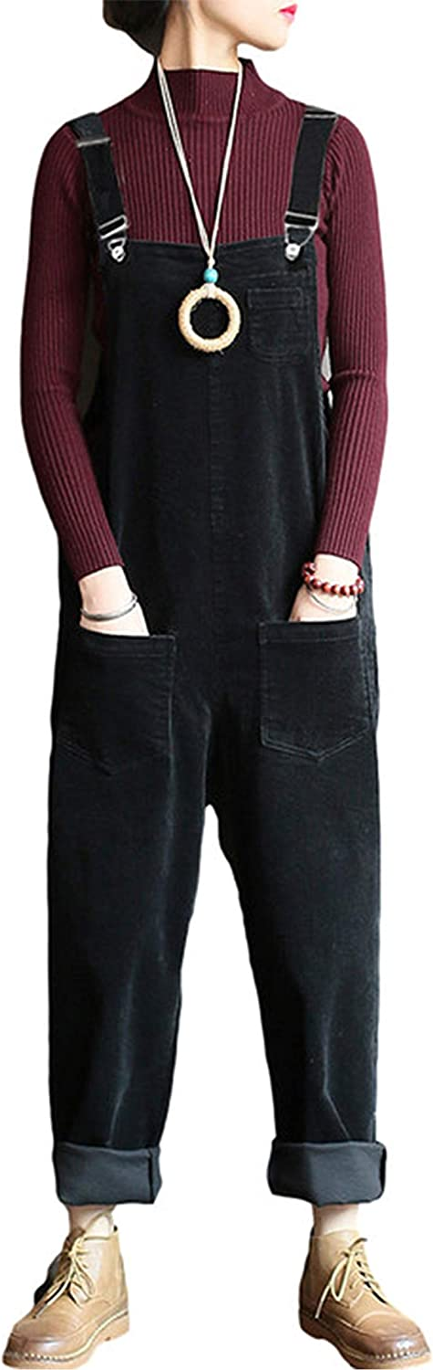 Lentta Women's Casual Directly managed store Loose Corduroy Wide Overall Jumpsuits Bib Max 86% OFF