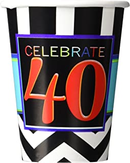 Must-Have Chevron and Stripes 40th Birthday Party Paper Cups Tableware, Pack of 8, Multi , 9 Ounces, Paper