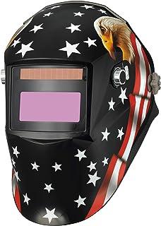Pupzo Welding Helmet Solar Power Auto Darkening with 2 Arc Sensors & Two Shade Ranges..
