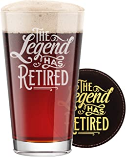 BadBananas The Legend Has Retired - Funny Retirement Gifts For Men - 16 oz Engraved Pint Beer Glass with Etched Coaster -