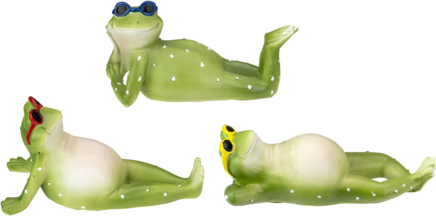 TII Collections Set of 3 Green 100% quality warranty Frog Spring with Sunbathing Goggl Max 77% OFF
