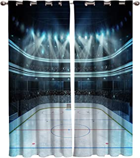 Window Treatment Set Room Curtains for Living Room,Kitchen - Hockey Photo of a Sports Arena Full of People Fans Audience Tournament Championship Match, Dark Blue 2 Drape Panels,52