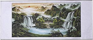 Large Size Feng Shui Painting Treasure Basin,Hand Mounted Wall Scroll Waterfalls Painting Wall Sculptures Ready to Hang, Office Living Room Decoration Landscape Painting (Treasure Basin,67x29 in)