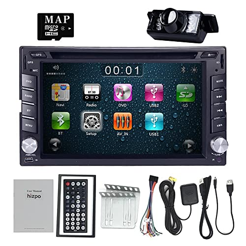 hizpo 6.2 Inch Universal Double 2 Din in Dash Car CD DVD Player GPS Stereo Radio