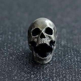Glintbay Generation 2 Handmade Sterling Silver Skull Bead Biker Rocker Punk Pendant (Retro-M)
