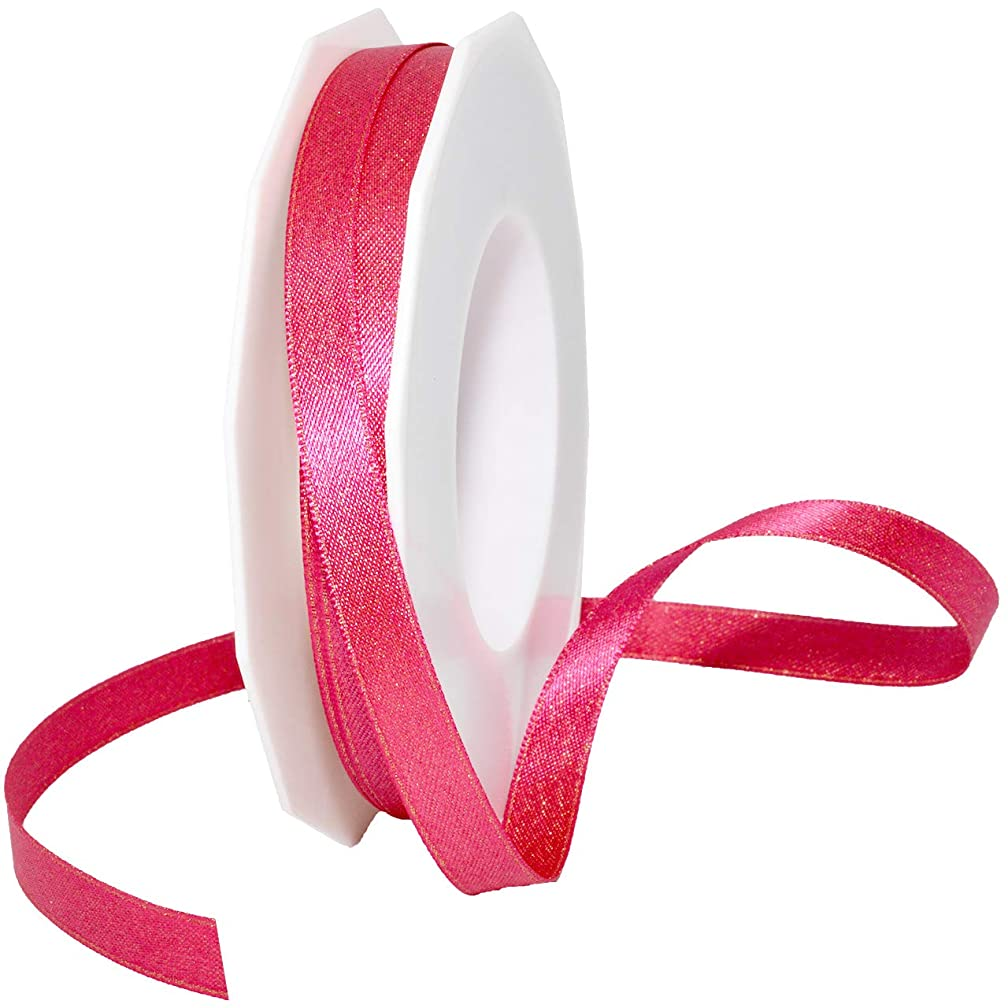 Morex Ribbon 8866 Glitter Pearl Ribbon, Shocking Pink