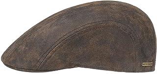 Stetson Madison Leder Flatcap Herren | Ledercap im Vintage-Stil | Schirmmütze mit Innenfutter aus Baumwolle | Mütze Sommer/Winter | Schiebermütze