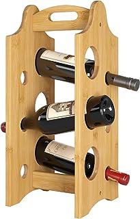 Homfa Botellero Vino Apilable Estantería para Vinos Botellero Bambú Portátil para 6 Botellas de Vino 47x20x20cm
