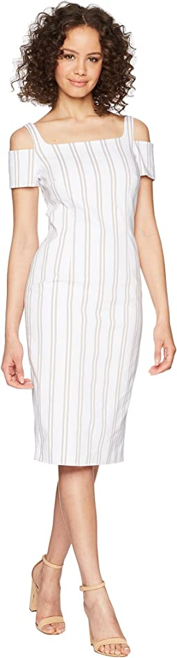 Cold Shoulder Striped Sheath Dress CD8E21LY