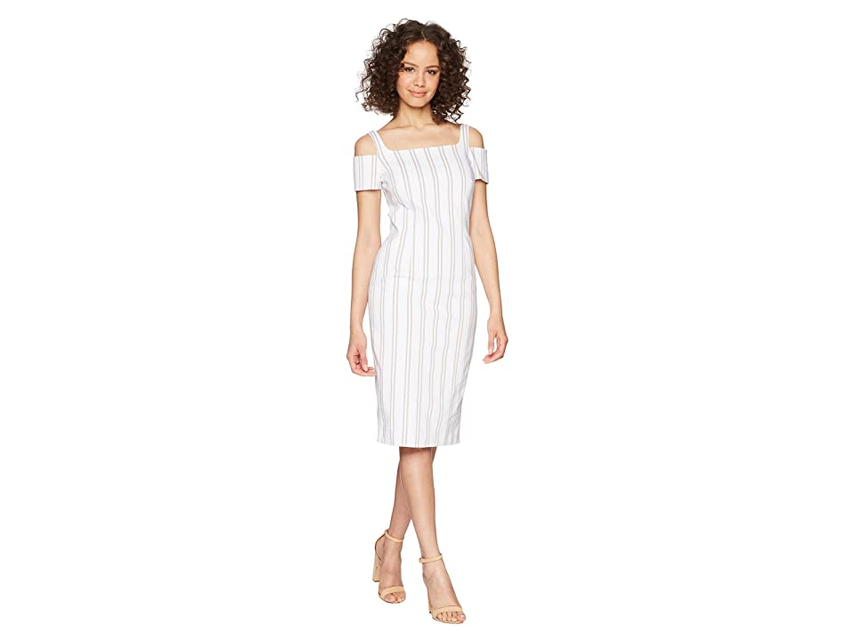 Calvin Klein Cold Shoulder Striped Sheath Dress CD8E21LY (White/Khaki) Women