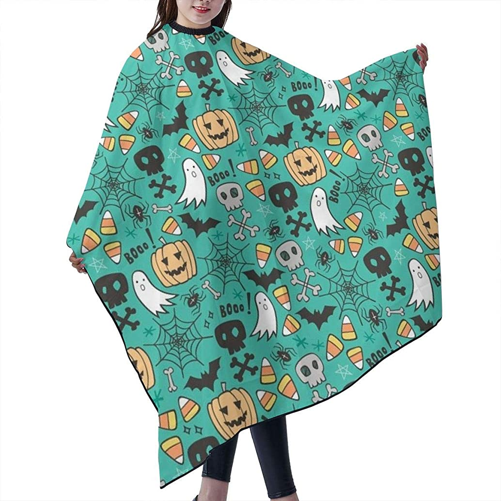 Barber Cape,Halloween Doodle With Skulls,Bat,Pumpkin,Spiderweb,Ghost On Green Tiny Small Salon Polyester Cape Haircut Apron 55