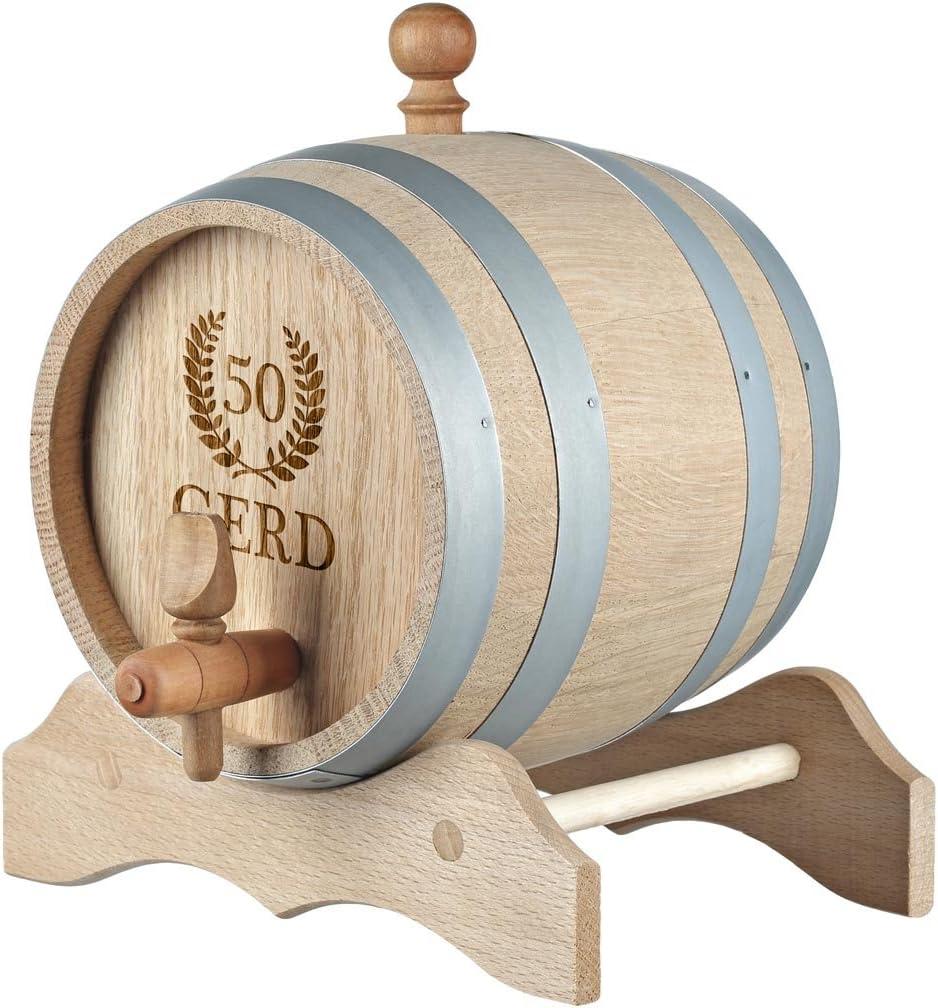 polar-effekt Barril de madera de 3 litros personalizable con grabado, idea de regalo de cumpleaños para hombres y mujeres, barril de roble para whisky ...