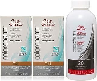 Wella Color Charm Toner T11 1.4 oz (2 Pack) + Cream Developer 20 Volume 3.6 oz