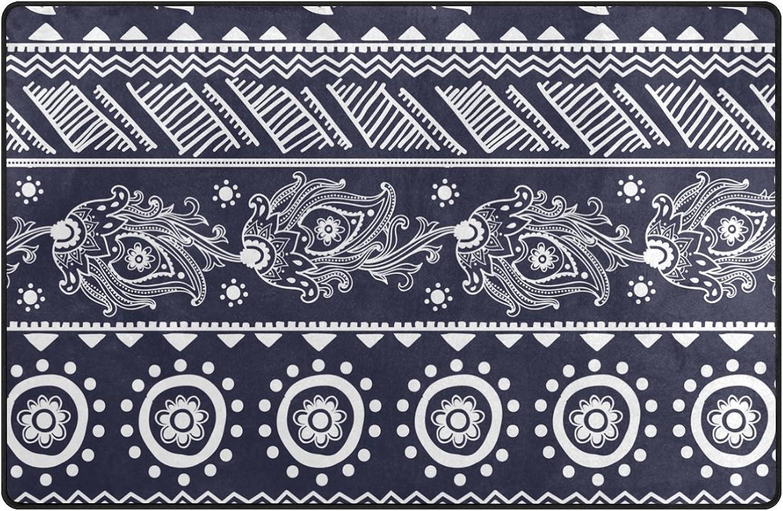 FOLPPLY Personalized Decorative Vintage Ethnic Boho Floral Print Area Rug,Non-Slip Floor Mat for Indoor Outdoor Front Door Bathroom Mats, 60 x 39 inch