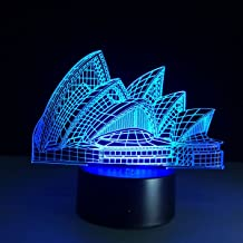 Novel Smart Touch 3D Sydney Opera House ILLusion Night Light 7 Colors Changing Table Desk Deco Lamp Bedroom Children Room Decorative Night Light Lighting Effects Birthday Holiday Gift