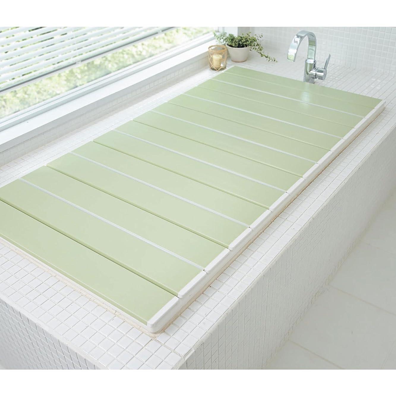 ゴールド感じ致死[ベルメゾン] 風呂ふた 防カビ 抗菌 折りたたみ コンパクト 日本製 グリーン 約75×109