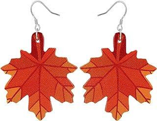 Szxc Women's Fall Thanksgiving Dangle Earrings - Leather & Sterling Silver Hypoallergenic Drop Earrings - Lightweight