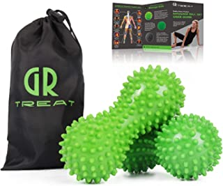 GUARD & REVIVAL TREAT Foot Massage Roller Ball - Exercise Ball Massager for Plantar Fasciitis - Great for Heel & Foot Arch Pain Relief - Green (Hard)