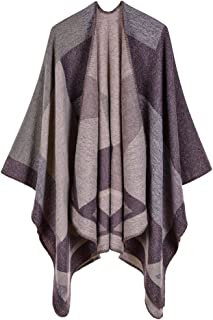 talla /única poncho de punto para abrigos alpaca y poncho Capa de punto para mujer de lana de alpaca INTI ALPACA para mujer color negro y gris oscuro